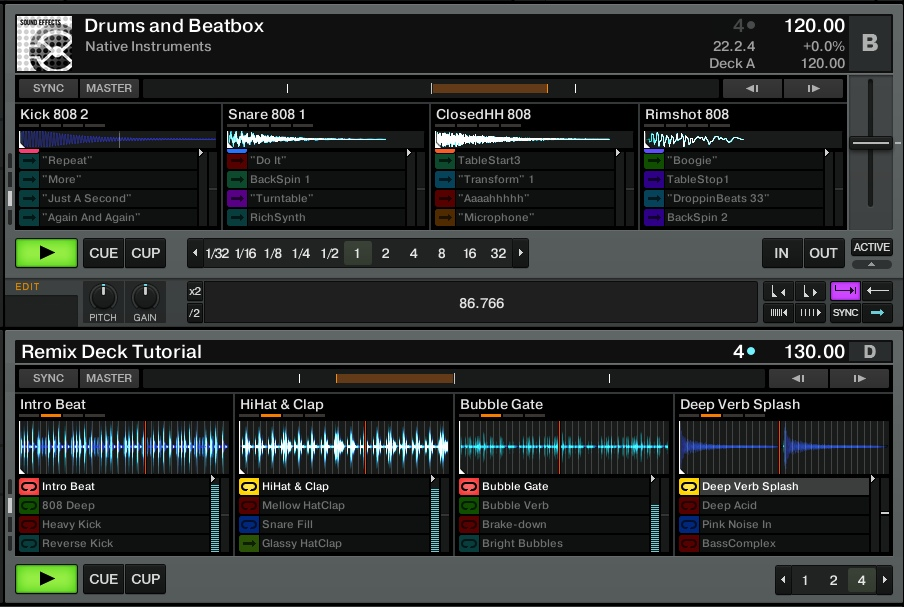 Example of Remix Decks in the Advanced view (top) and Essential view (bottom).