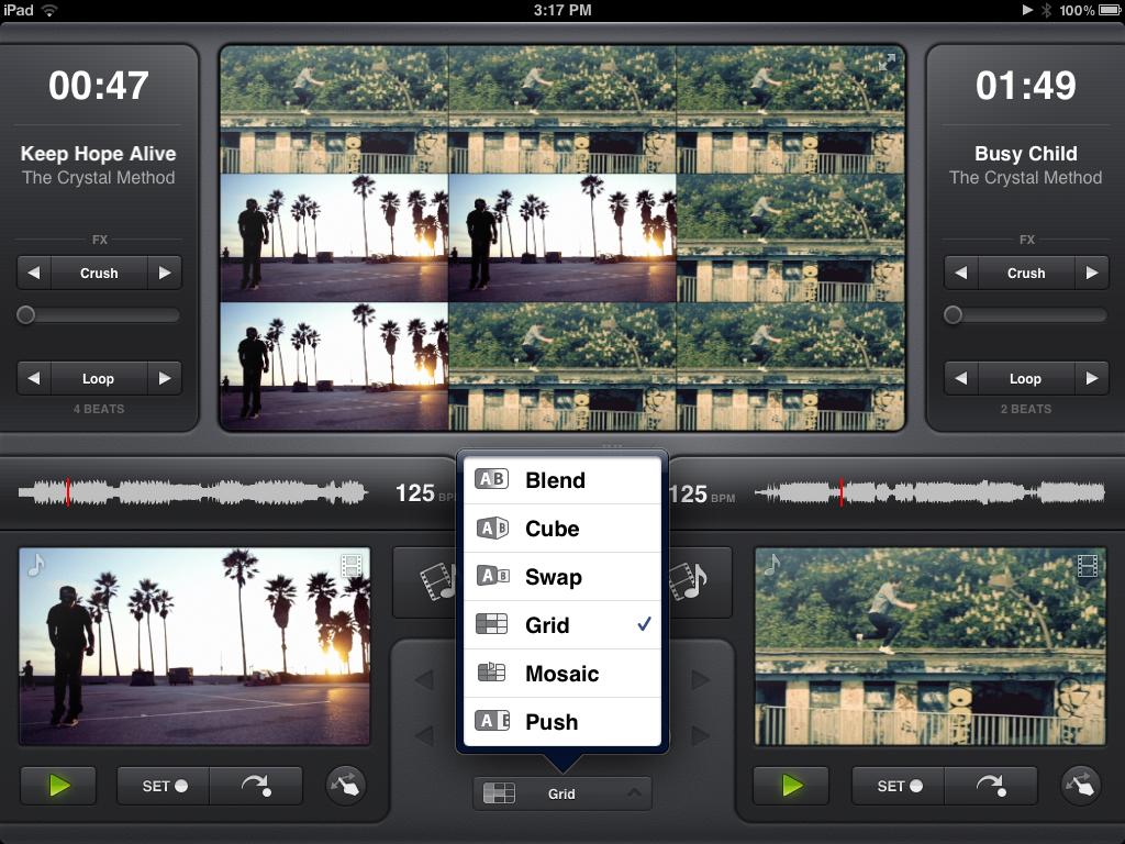 Vjay's crossfader option menu.