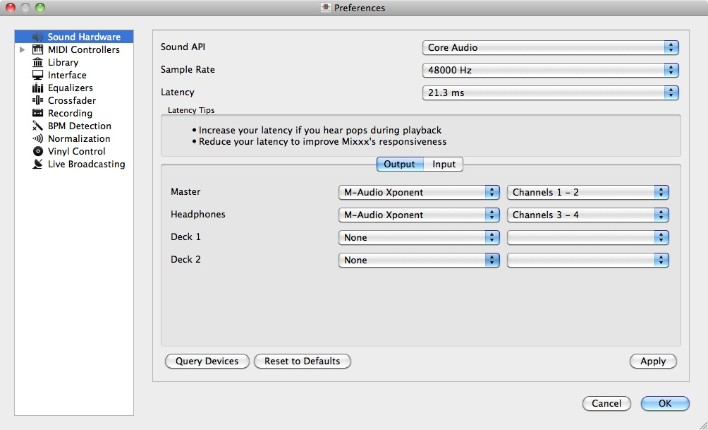 The Mixxx audio preferences. The software supports multiple audio interfaces at once.