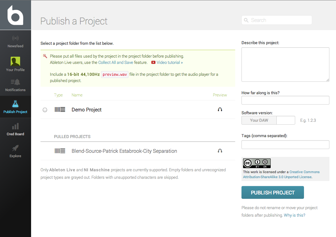 Upload a project