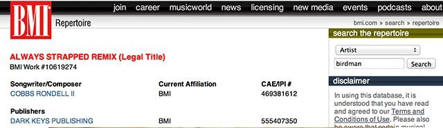"Birdman's ""Always Strapped"" listed on the BMI repertoire"