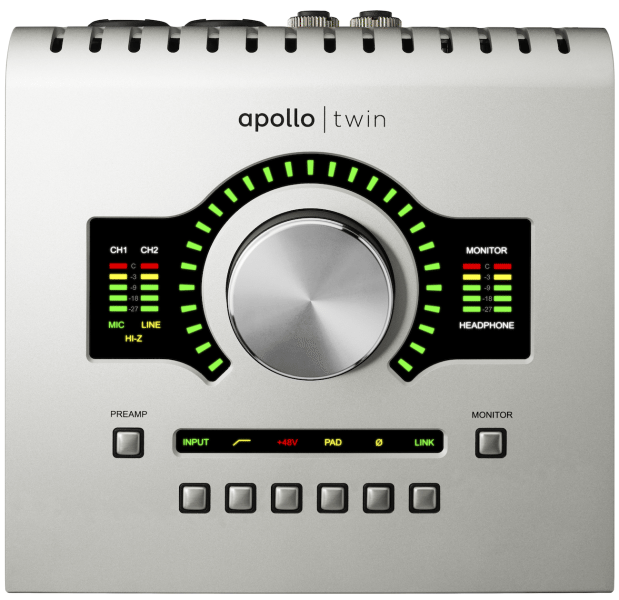 The Universal Audio Apollo Twin's big knob controls all I/O levels.