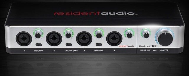 The Resident Audio T4 shows signal levels with LED rings around its knobs.
