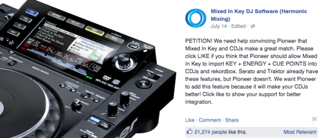 A recent Facebook petition from Mixed In Key