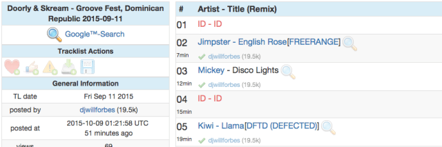 A screenshot of a typical setlist on 1001 Tracklists - some tracks identified, some still unknown.